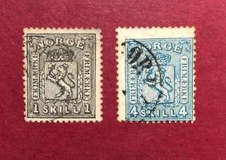1867-68 挪威 獅子與皇冠,#11,14_A4_1,4s