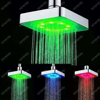 6英寸LED自發電淋浴花灑頭