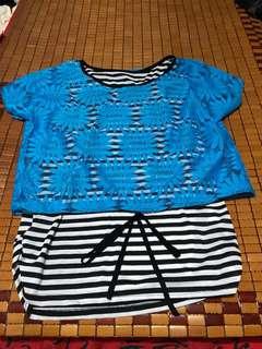 XL Blue Floral Stripes Top
