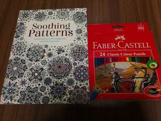 Colouring Book with Faber Castell 24 Classic Colour Pencils