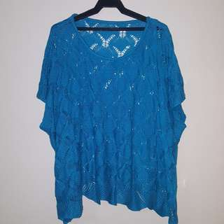 Plus Size Blue Crochet Top