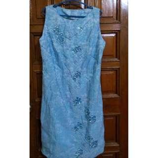 Blue Slik Dress w/ flower bead and sequins design