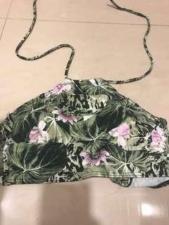 Green Floral halter neck Bikini Top