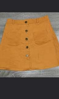 Mustard Button Up Skirt
