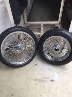Harley Davidson XL sportster 80 twisted spoke rim 16 rear, front 21 come with cobra tyres.