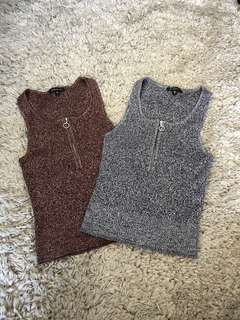 Knitted Crop Tops with Zipper bundle (grey, burgundy, XS)