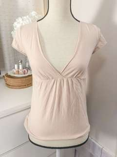 Authentic Mango soft pastel pink v neck shirt • blouse tshirt