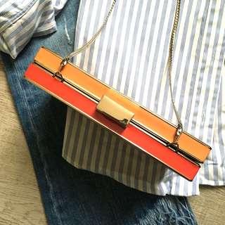 🔵ZARA Two-tone Box Clutch