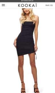 kookai black tie up dress