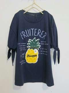 🚚 全新現貨➰日貨鳳梨毛線袖口綁帶T-shirt