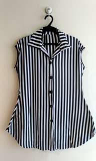 Collared Black & White Long Top (PLUS SIZE)