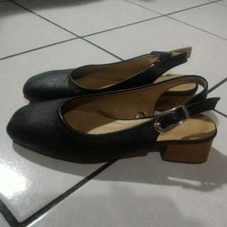 Parisian Sling Back Shoes w/ Block Heels