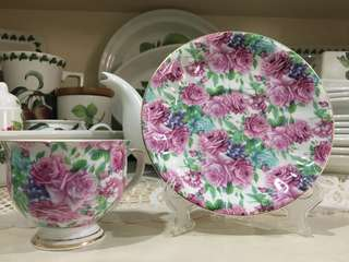 Cup and saucer - roses with white background