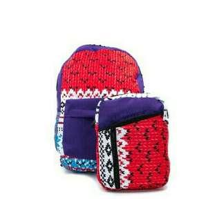Printed Backpack & Sling Bag Set