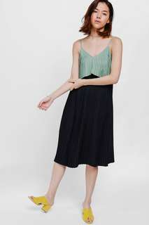 Love Bonito Eldra Pleated Layered Dress, Navy