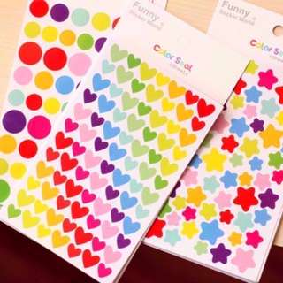Color Sticker Seal Korea Star Love Heart Circle Stickers