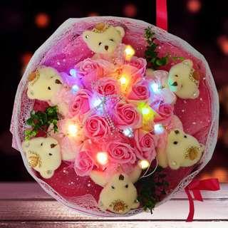Teddy Bear Bouquet With Light