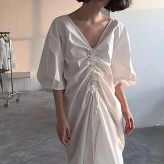 原創設計 法式簡約寬鬆V領連身裙 洋裝