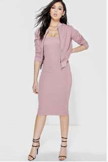 Boohoo beautiful mauve pink hourglass tube dress only (no jacket)