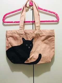 日本直送硬布粉紅🐈貓貓袋