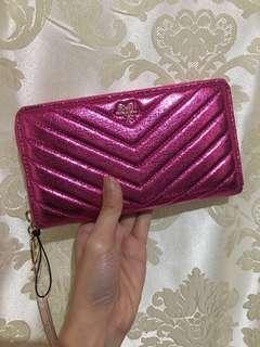 Authentic Victoria's Secret Quilt Metallic Crackle Everything Zip Wallet (Hot Pink)