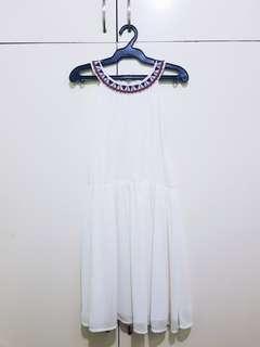 Chill Haltered Summer Dress (White)