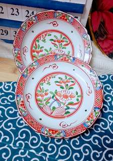 Tranditional vintage cherry flower design Japan porcelain plate 2 in set
