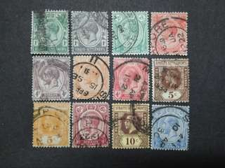 Straits Settlements 1912 1921-1933 King George V Set Up To 12c - 12v Used Malaya Stamps