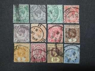Straits Settlements 1912 1921-1933 King George V Set Up To 12c - 12v Used Malaya Stamps