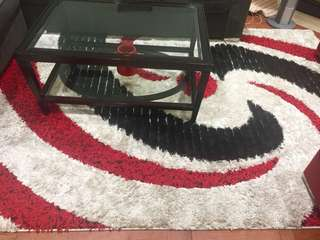 Area rug red, white and black