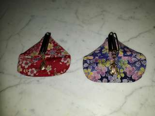 vintage Japanese Hato Hasi floral fabric coin purses w frog charm snap
