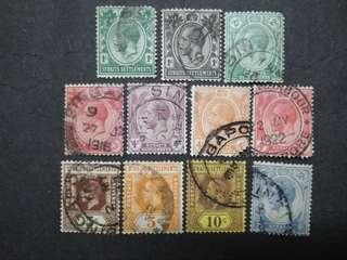 Straits Settlements 1912 1921-1933 King George V Set Up To 12c - 11v Used Malaya Stamps
