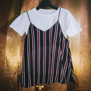 3-in-1 Basic Striped Top Black/Red - Fits Medium to Large (Used but in good condition)