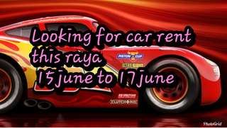 looking for car to rent from 15 june -17 june