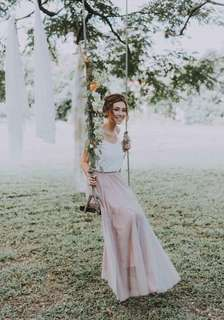 Lookbook- White Top With Tulle Skirt Two Pieces Wedding Gown