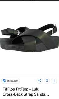 Authentic Fitflop Size6 Lulu Cross Sandals Leather Black