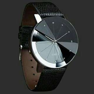 Diamond Studded Black Leather Watch