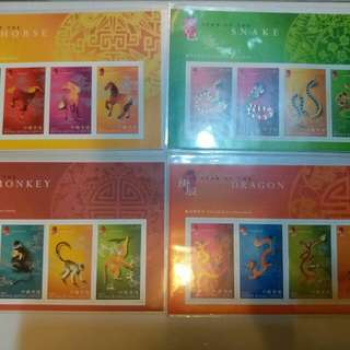 最後機會最後兩套, 馬,蛇,猴,龍年 生肖郵票(每張)