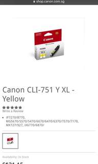 Original BNIB Canon 751 Yellow XL ink cartridge