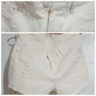 Denim White Shorts