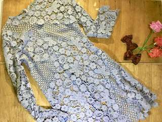 Lace Dress Blue Teal