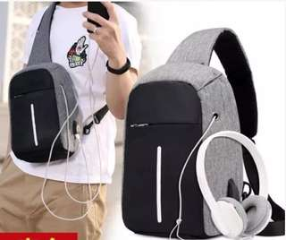 ORIGINAL IMPORT TAS SELEMPANG USB CHARGER & HEADSET - ANTI THEFT