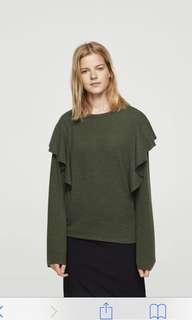 Mango Khaki Green Ruffled Sweater