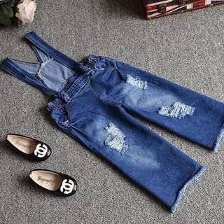 Girls Ripped Jeans Jumpsuit