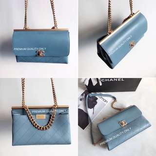 Boutique Quality Chanel coco luxe Flap Bag- blue