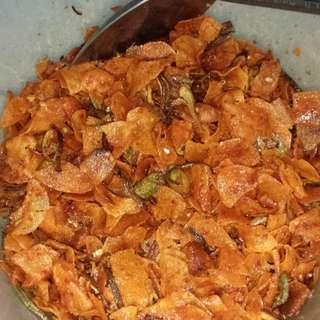 Keripik kentang + teri + pete oma nazir