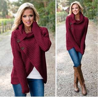 (S~2XL) Women's autumn and winter long sleeve wild knit cardigan jacket sweater