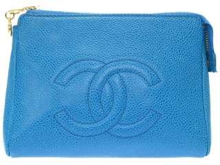 Vintage chanel彩藍色魚子醬手拿包 clutch bag 16x11cm