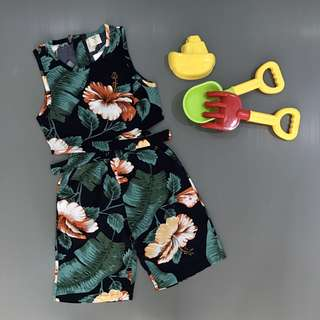 Kids Floral Sleeveless Top and Pants Set