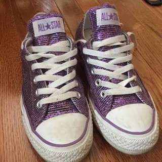 RUSH SALE!!!  Chuck Taylor ALL STAR Purple Sparkle Shoes